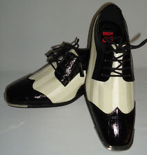 Expressions 6345 Mens Black White Satin Formal Spectator Fashion Dress Shoes