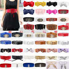 Womens Metal Flower Elastic Stretch Girls Buckle Wide/Thin Waist Belt Waistband