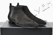 SAINT LAURENT 795$ Authentic New Suede Black Cropped 'London 20' Chelsea Boots