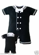 Navy 1pc Cracker Jack Black Baby Sailor Suit Creeper Outfit Nautical Romper 722