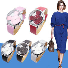 Fashion Women Watches Transparent Hollow Mickey Mouse Faux Leather Wrist Watch