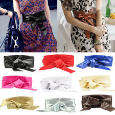 Women PU Leather Soft Self Tie Band Wrap Around Sash Obi Belt Wide Stretch Belt