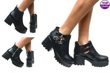 WOMENS LADIES CHELSEA ANKLE BOOTS CHUNKY CLEATED PLATFORM SOLE BLOCK HEEL SHOES