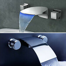Bathroom Brass Sink Basin Faucet Mixer Tap Wall Mounted Chrome Finish Two Handle