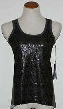 Simply Vera VERA WANG~Petite Gray Lace Front Lined Tank Top~Size PL ~NWT ~