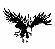Tribal Flaming Eagle 14.4 inch Vinyl Decal Flames Notebook Window Sticker