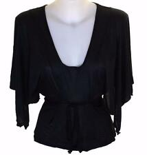 Bnwt Authentic Women's French Connection Batwing Top Blouse Black New Viscose