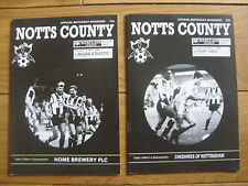 Notts County Home Football Programmes 1988/1989 Season