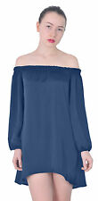 MARYCRAFTS WOMENS OFF SHOULDER LONG SLEEVE PEASANT BLOUSE TOP DRESS