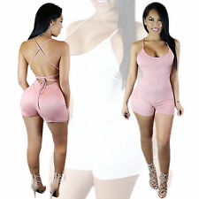 Fashion Women Backless Bodycon Jumpsuits One-Piece Playsuit Romper Dress Shorts