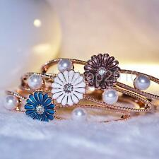 Rose Gold Daisy Pearl Charm Bangle Bracelet Cuff Girl Women Jewelry 3 Colors