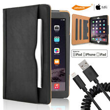 """Sydney Leather Smart Wake Wallet Case For iPad Pro 9.7 12.9"""" USB Data Sync Cable"""