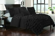 All Size New Waterfall Half Ruffle Duvet Cover Set Black 1000TC Egyptian cotton