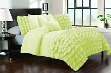 All Size New Waterfall Half Ruffle Duvet Cover Set Sage 1000TC Egyptian cotton