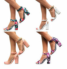 WOMENS LADIES ANKLE STRAP CUFF MID HIGH HEEL PEEP TOE SANDALS  SHOE SIZE