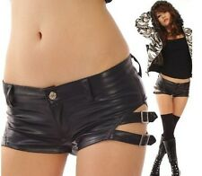 New Fashion Punk Women Sexy Short Metallic Leather Booty Hot Pants Mini Shorts