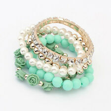 Mix Flower Beads Stretch Bracelet Alloy Resin Rhinestone Bangle Gifts Graceful
