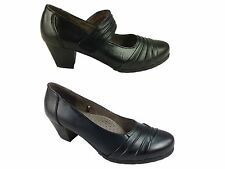 Ladies Cushion Walk Black Leather Mid Block Heel Mary Jane Slip On Court Shoes