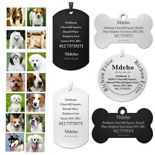 Custom Engraved Stainless Steel Pets Dog Cat Safety ID Tags-Name&Address&Number
