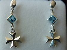925 Sterling Silver Maltese Cross Earrings with coloured Stone