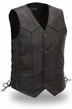 FMC Mens Black Leather Classic Motorcycle Biker Vest 4 Snap & Side Lace CARBINE