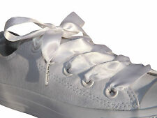 White Coloured Ribbon Shoelaces With Logo Tips for Kids Adults Crystal Trainers