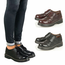 Womens Ladies Chunky Heel Lace Up Brogue Oxford School Vintage Work Shoes Pumps