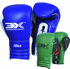 3X Sports Leather Pro Kids Boxing Gloves Junior Punch Bag MMA Kick Children 10oz