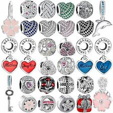 Authentic Crystals Fine 925 Sterling Silver Charms Fit 3mm Bead Bracelets Bangle