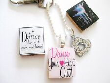 Just Dance crystal heart keyring - bag charm (dance your heart out & dance)