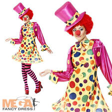 Polka Clown Ladies Circus Fancy Dress Womens Fun Carnival Adults Costume Outfit