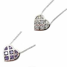 Woven Heart Pendant Necklace White Purple Cubic Zirconia Sterling Silver n109s