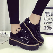 Womens Platform Heels Shoes Flat Lace Up Round Toe Brogue Oxford Chunky Creepers