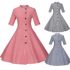Womens Vintage Retro Single-breasted 50s 60s Rockabilly Pinup Party Swing Dress