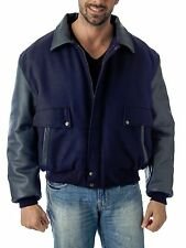 Leather and Wool Bomber Jacket Union Made in USA Premium REED 1950 Navy Color