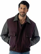 Air Force Bomber Jacket Union Made in USA Premium Brown Leather and Wool by REED