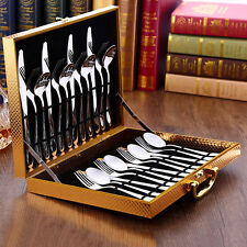 New Western Flatware Knife Fork Spoon Set Stainless Steel Cutlery Box Tablewares