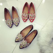 Fashion Women Rhinestone Pointed Toe Flats Shoes Suede Comfort Ballet Shoes HOT