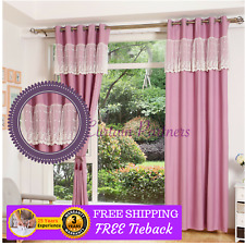 Custom Made Purple Kid Velvet Lace Sheer Drapes Curtains Eyelet Pleats Rod Viole