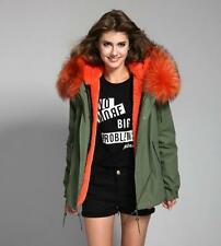 2016 F/W Women Colored REAL Farm Cape FOX FUR  Hooded Coat Army Jacket Parka