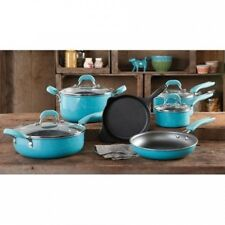 The Pioneer Woman Vintage Speckle 10-Piece Non-Stick Pre-Seasoned Cookware Set.