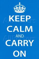Keep Calm and Carry On (Motivational, Light Blue) Art Poster Pri… Poster - 24x36