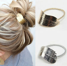 Elastic Hair Band Ponytail Headband 2Pcs Holder Accessories Leaf Lady Rope Women