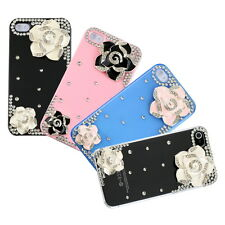 3D Camellia Flower Diamond Crystal Hard Back Case Cover For iPhone 4/4S TG