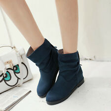 3 Color Womens Faux Suede Ankle Boots Hidden Wedge Heels Casual Slouch Bootie