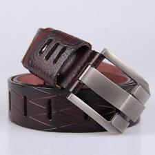 Men's Genuine Real Leather Waist Belt Waistband Strap Girdle Smooth Buckle Belts