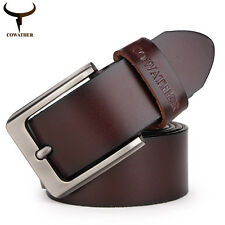 Men's Waistband Business Waist Strap Metal Buckle Genuine Cow Leather Belts