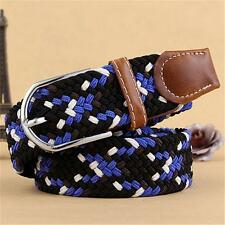 Men Stretch Unisex Elastic Belt Braided Canvas Woven Leather Belt Outside Belt