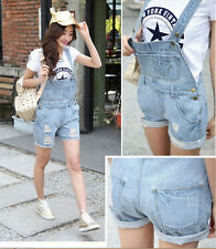 fashion women Girl Washed Jeans Denim Casual Hole Jumpsuit Romper Overalls Short