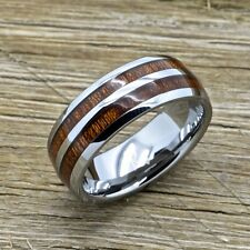 Tungsten and Koa Wood Wedding Band, Tungsten Ring, Wedding Band 8mm comfort fit